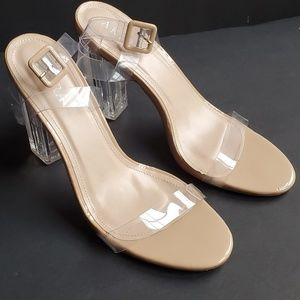 Lucite Nude Patent Leather Strappy Block Heel 10